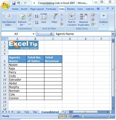 excel tutorial help com consolidating lists in excel 2007 microsoft excel tips