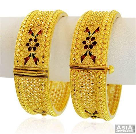 pattern of gold kada gold meenakari wide kada ajba58859 22kt gold wide