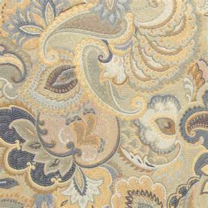 Traditional Upholstery Blue White And Gold Abstract Floral Upholstery Fabric By