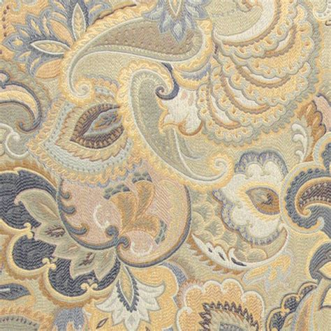traditional upholstery fabric blue white and gold abstract floral upholstery fabric by