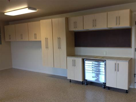 Wooden Cabinets For Garage by White Stained Wooden Floating Cabinet With Three Tier