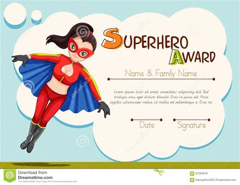 certificate design with superhero background stock