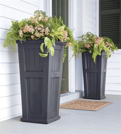 self watering planters lexington tall planter deck planters