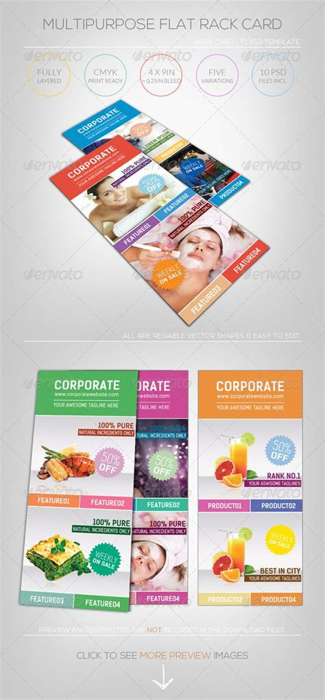 4 x 9 rack card with bleed psd template multipurpose flat rack card flyer template