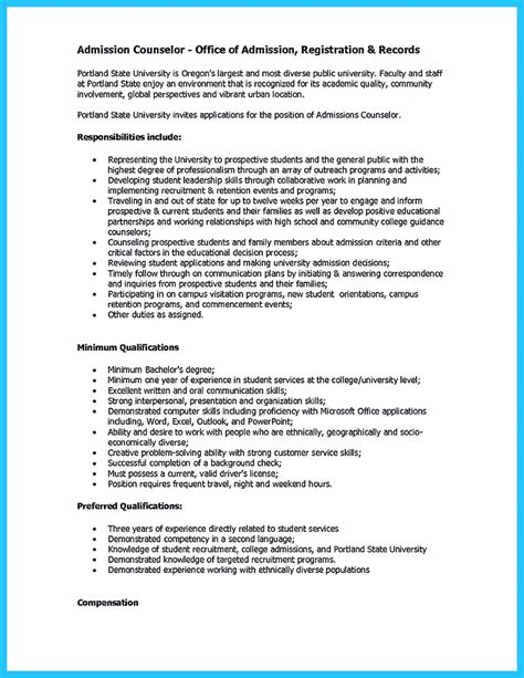admission counselor sle resume chemistry lab assistant