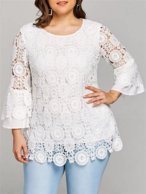 Chest Lace Shirt S Xl plus size lace flare sleeve tunic top in white 4xl sammydress