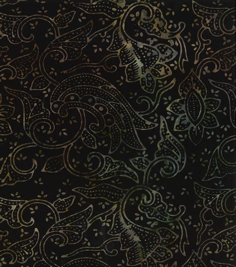 Black Batik legacy studio cotton fabric black floral batik jo