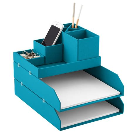 Desk Top Organizer Bigso Turquoise Stockholm Desktop Organizer The Container Store