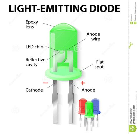 light emitting diode common uses inside the light emitting diode stock vector illustration of diagram bright 36558504