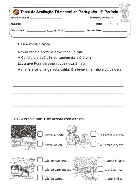 teste de avaliação trimestral português 1º ano
