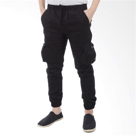 jual celana panjang cargo jogger pria hitam