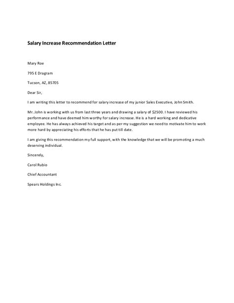 Letter Of Raise Salary Increase Recommendation Letter