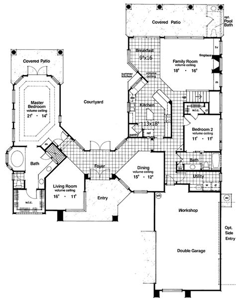 two story courtyard house plan 6382hd architectural