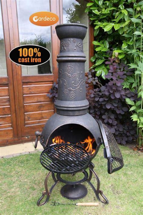 Solid Cast Iron Chiminea Gardeco Toledo Solid Cast Iron Chiminea Large