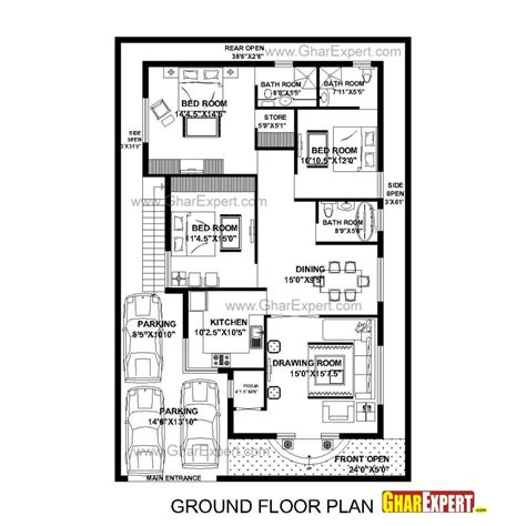 3 bedroom ground floor plan small rectangular home plan with 3 bedrooms for ground
