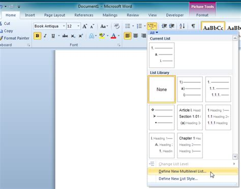 Multi Level Outlines Definition by Customize Multi Level List In Word 2010