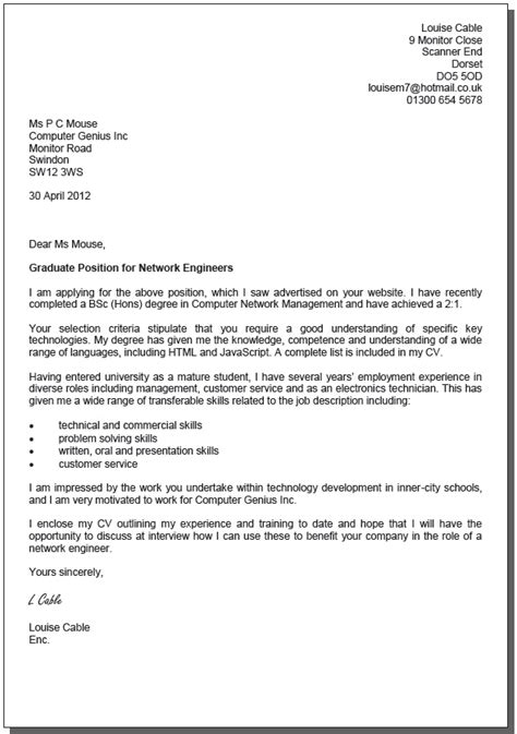 exle cover letter for job application uk cover letter