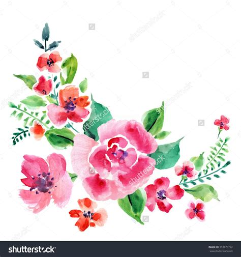 Painted Flower watercolor floral wreath with painted flowers and