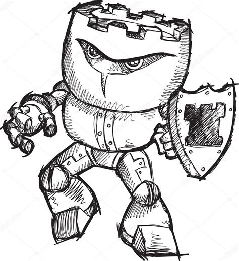 doodle bot drawing doodle sketch cyborg robot chess rook warrior vector