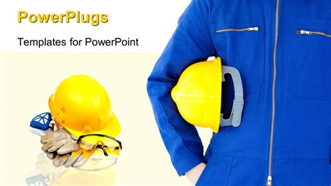 Powerpoint Template Engineer With Safety Helmet In Foreground With Safety Kit In The Background Free Safety Powerpoint Templates
