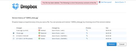 dropbox deleted files dropbox folder aaron s area
