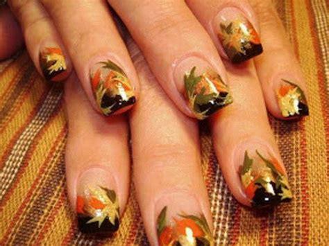 nail art leaf tutorial fall nails on pinterest fall nail designs fall nail art