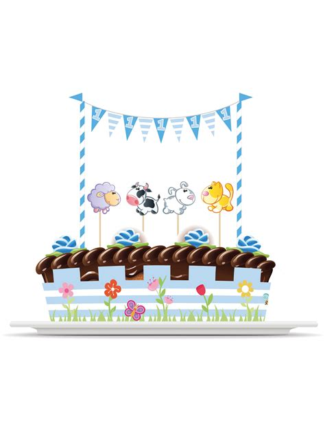 Decoration Gateau Garcon by Kit De D 233 Corations Pour G 226 Teau Animaux 1 An Gar 231 On