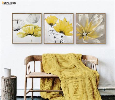 painting canvas wall art pictures frame home decor for modern abstrct yellow flower wall art canvas oil painting