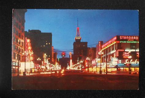 lighting stores salt lake city 1960s main street at night neon signs stores traffic light