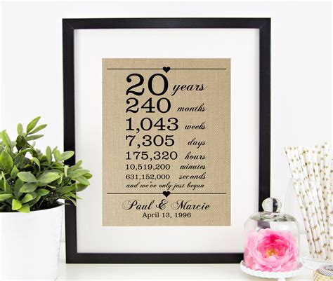 20th Wedding Anniversary Gifts by 20th Wedding Anniversary Gift For Husband 20 Years