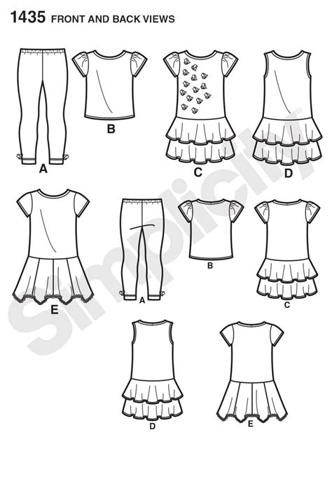 pattern review best patterns 2014 simplicity 1435 child s knit dresses top and capri leggings