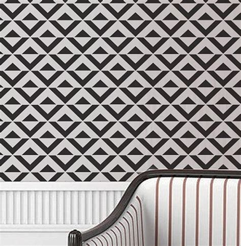geometric pattern on wall wall stencil geometric chevron zig zag arrow by