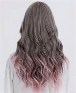 brown hair with colored tips muted brown with pink tips hair color