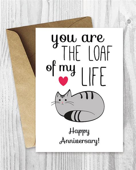 printable cat card template anniversary cards printable anniversary card by