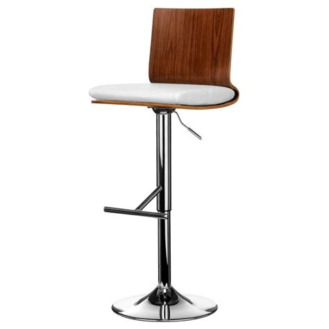 white leather bar stools contemporary buy walnut and white faux leather bar stool from fusion living