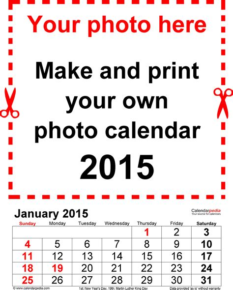 2015 calendar templates for word photo calendar 2015 free printable word templates