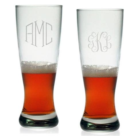 engraved barware susquehanna grand pilsner glasses monogram set of 4