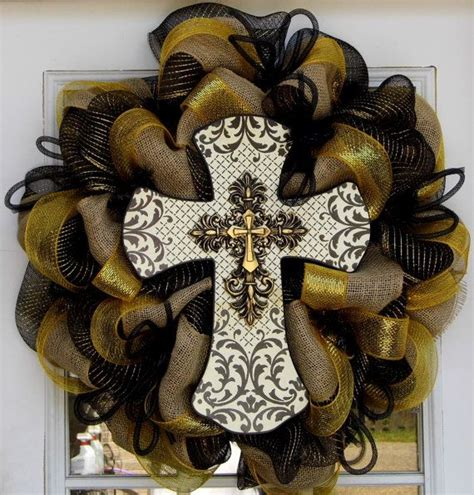 cross wreath country home decor black and gold wooden 17 best images about new orleans saints wreath decor on