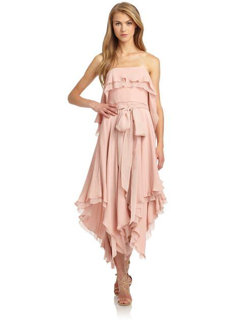 chiffon draped dress halston heritage silk chiffon draped handkerchief dress in