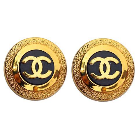 chanel vintage clipon logo earrings 1992 at 1stdibs