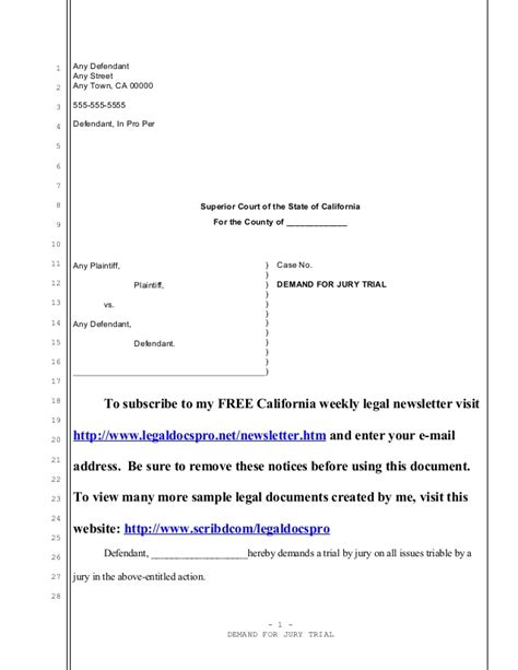 Demand Letter Civil Lawsuit Sle California Demand For Jury Trial