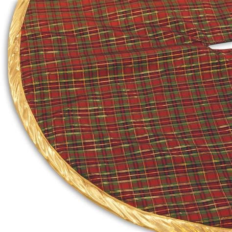 54 inch plaid designer christmas tree skirt with edging