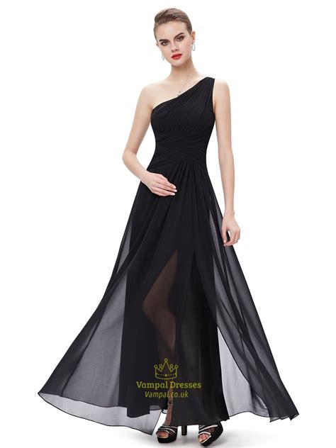 black chiffon one shoulder floor length bridesmaid dresses