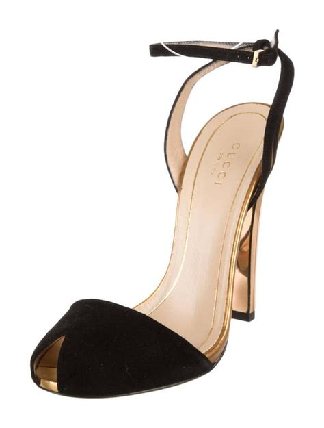 gucci new black suede gold mirror strappy high heels pumps in box at 1stdibs