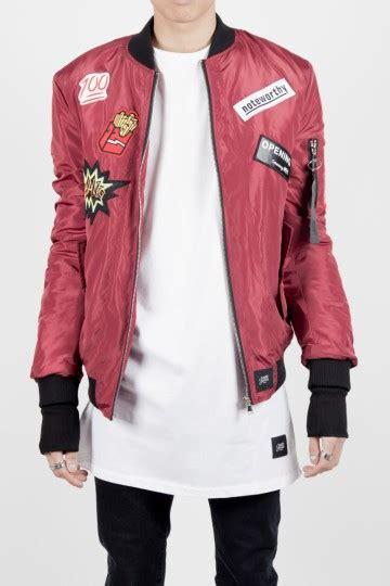 Bomber Patch Maroon Jaket Jacket Sweater Parasut Despo Wanita Bomber sixth june bomber jacket burgundy patch 1422c sixth june officiel