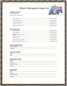 emergency contact list template the gallery for gt emergency phone numbers list for