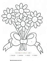 printable color by number flowers flower coloring pages