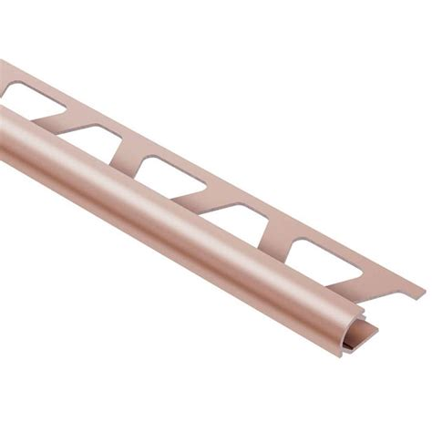 schluter rondec satin copper anodized aluminum 3 8 in x 8 ft 2 1 2 in metal bullnose tile