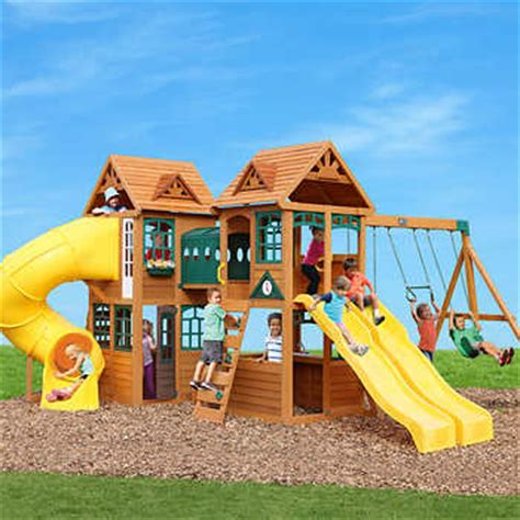 playground sets for backyards costco cedar summit kingsbridge wooden play set