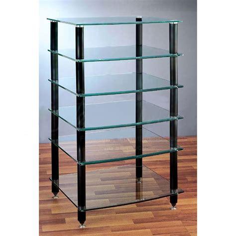 Vti Audio Rack by Vti 6 Shelf Audio Rack With Glass Shelves Agr406b Black Poles